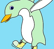 Christmas Light Green Penguin with Yellow Ice Skates by Grifynne