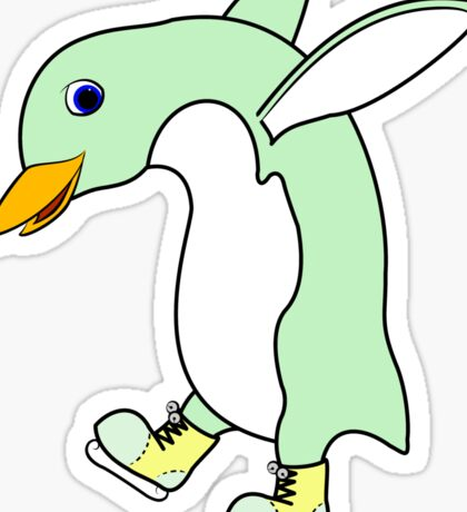 Christmas Light Green Penguin with Yellow Ice Skates Sticker