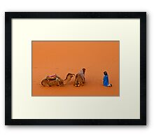 Morning pray at Erg Chebbi on edge of the Sahara Framed Print