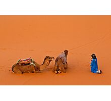 Morning pray at Erg Chebbi on edge of the Sahara Photographic Print
