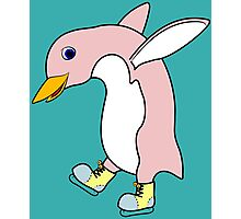 Christmas Light Pink Penguin with Yellow Ice Skates Photographic Print