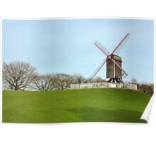 Windmill at the park in Bruges, Belgium Poster
