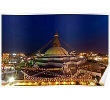 Buddhist Stupa at Dusk Poster