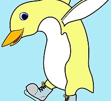 Christmas Light Yellow Penguin with Blue Ice Skates by Grifynne