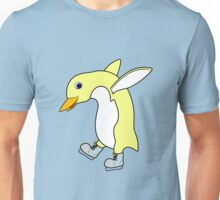 Christmas Light Yellow Penguin with Blue Ice Skates Unisex T-Shirt
