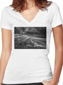 Ocqueoc Falls, Michigan. Women's Fitted V-Neck T-Shirt