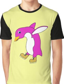 Christmas Pink Penguin with Gold Ice Skates Graphic T-Shirt