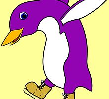 Christmas Purple Penguin with Gold Ice Skates by Grifynne