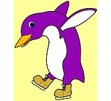 Christmas Purple Penguin with Gold Ice Skates Photographic Print