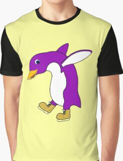 Christmas Purple Penguin with Gold Ice Skates Graphic T-Shirt