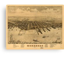 Panoramic Maps Muskegon Michigan 1874 Canvas Print