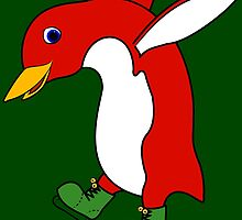 Christmas Red Penguin with Green Ice Skates by Grifynne