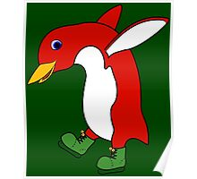 Christmas Red Penguin with Green Ice Skates Poster