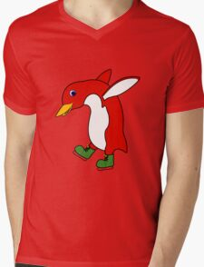 Christmas Red Penguin with Green Ice Skates Mens V-Neck T-Shirt