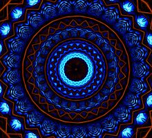 Kaleidoscope 4 abstract mandala blue iPhone/iPod Case by Leah McNeir