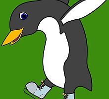 Christmas Penguin with Blue & Silver Ice Skates by Grifynne