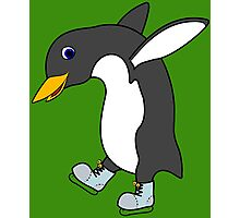 Christmas Penguin with Blue & Silver Ice Skates Photographic Print