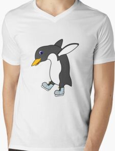 Christmas Penguin with Blue & Silver Ice Skates Mens V-Neck T-Shirt