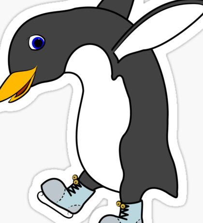 Christmas Penguin with Blue & Silver Ice Skates Sticker