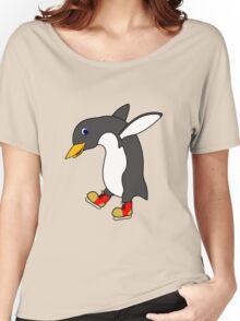 Christmas Penguin with Red & Gold Ice Skates Women's Relaxed Fit T-Shirt