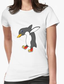 Christmas Penguin with Red & Gold Ice Skates Womens Fitted T-Shirt