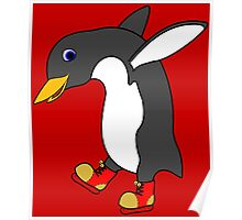 Christmas Penguin with Red & Gold Ice Skates Poster