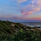 Beavertail at Dusk - Conanicut Island Sunset and Moon by Jack McCabe