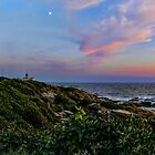 Beavertail at Dusk - Conanicut Island Sunset and Moon by Jack McCabe