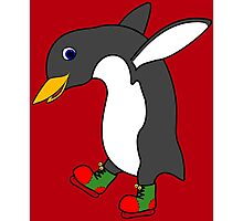 Christmas Penguin with Red & Green Ice Skates Photographic Print