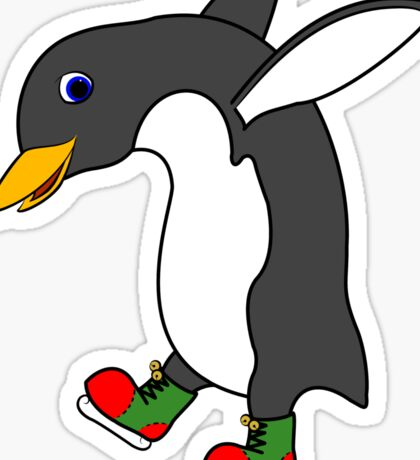 Christmas Penguin with Red & Green Ice Skates Sticker