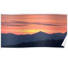 Mountain sunset Poster