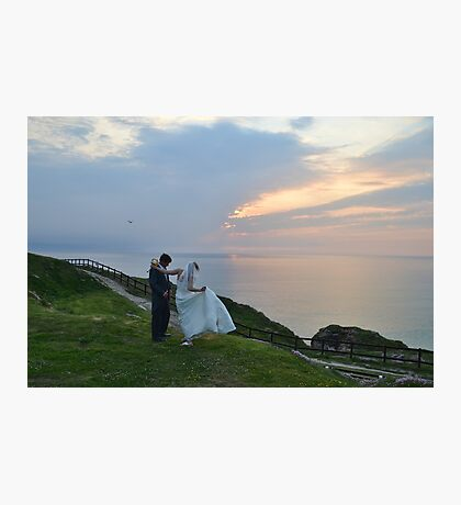 A  Golden Moment At Perranporth, Cornwall Photographic Print