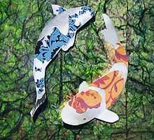 Cut Paper Animal Collage: Koi by chillchey