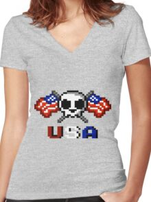 Stars and Stripes Women's Fitted V-Neck T-Shirt