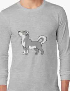 White & Gray Alaskan Malamute with Curled Tail Long Sleeve T-Shirt