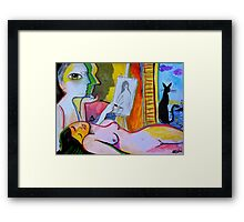 the cat the nude and the lighthouse Framed Print