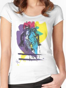 Horse jumping in colour Women's Fitted Scoop T-Shirt