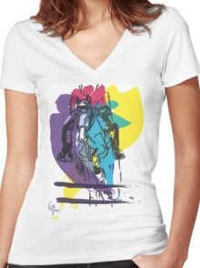 Horse jumping in colour Women's Fitted V-Neck T-Shirt