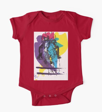 Horse jumping in colour One Piece - Short Sleeve