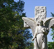 White Stone Cemetery Angel by Kenneth Keifer