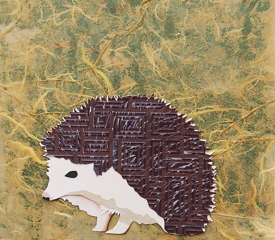 Cut Paper Animal Collage: Hedgehog by chillchey