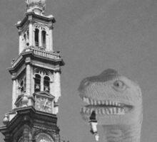 Jeetje! A dinosaur attacking Amsterdam Sticker