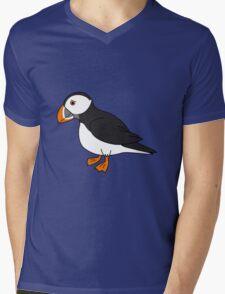 Black & White Puffin Bird with Orange Feet Mens V-Neck T-Shirt