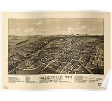 Panoramic Maps Greenville Tex county seat of Hunt County 1886 Poster