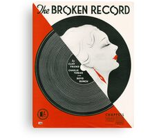 THE BROKEN RECORD (vintage illustration) Canvas Print