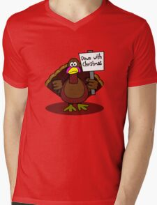 Down With Christmas Mens V-Neck T-Shirt