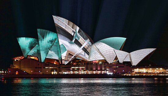 Opera House in Green - Vivid Sydney 2012 by yolanda