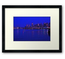 Boston skyline at night Framed Print