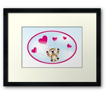 Teddy with heart-balloons Framed Print