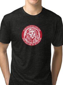 Club Ciclistico Coglioni: Monarch lion (red on white, small) Tri-blend T-Shirt